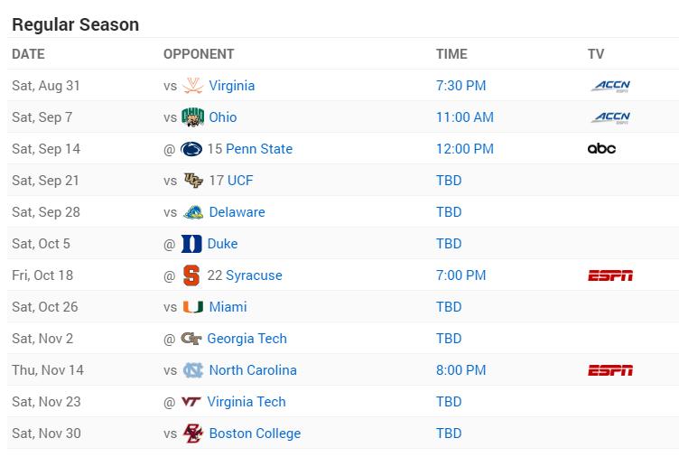 Pitt 2019 Football Schedule ESPN